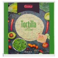SANDRA Tortilla pszenna o smaku szpinakowym (4 x 25 cm)