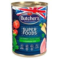 Butcher's Super Foods Karma dla dorosłych psów kawałki w sosie z indykiem i warzywami 400 g