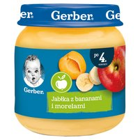 GERBER Jabłka z bananami i morelami dla niemowląt po 4. m-cu