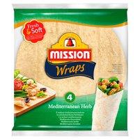 MISSION Wraps Tortille z mąki pszennej z ziołami śródziemnomorskimi (4 sztuki)