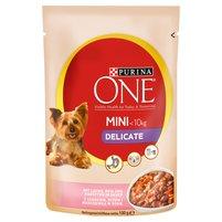 PURINA ONE Mini Delicate Karma dla psów z łososiem ryżem i marchewką w sosie