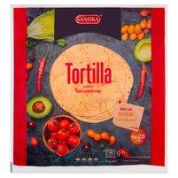 SANDRA Tortilla pszenna o smaku pomidorowym (4 x 25 cm)