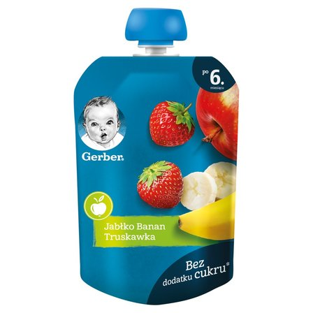GERBER Deserek jabłko banan truskawka dla niemowląt po 6. m-cu (1)