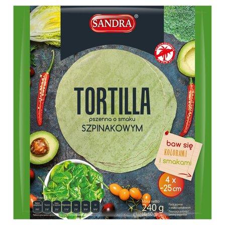 SANDRA Tortilla pszenna o smaku szpinakowym (4 x 25 cm) (1)