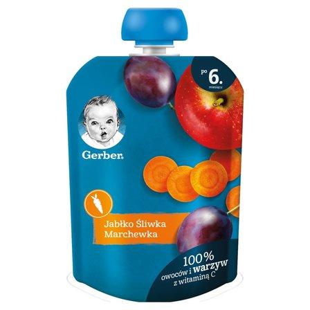 GERBER Deserek jabłko śliwka marchewka dla niemowląt po 6. m-cu (1)