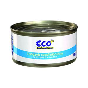 ECO+ Tuńczyk rozdrobniony w strzępach w wodzie (1)