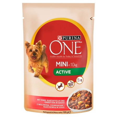 PURINA ONE Mini Active Karma dla psów z wołowiną ziemniakami i marchewką w sosie (1)