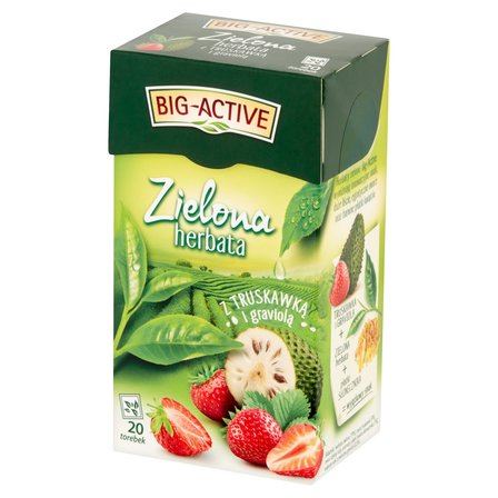 BIG-ACTIVE Zielona herbata z truskawką i graviolą (20 tb.) (1)