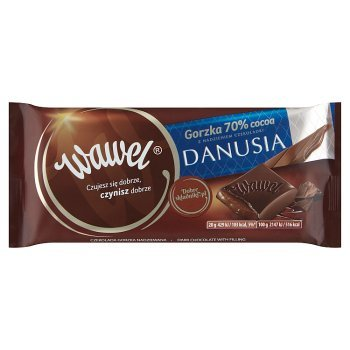 Wawel Czekolada gorzka 70% cocoa z nadzieniem czekoladki Danusia 100 g (1)