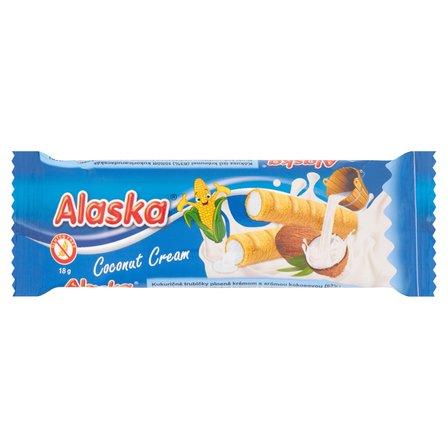 Alaska Rurki kukurydziane nadziewane kremem o smaku kokosowym 18 g (1)