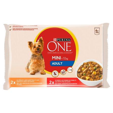 PURINA ONE Mini Adult Karma dla psów (4 x 100 g) (1)