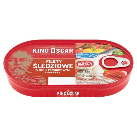 KING OSCAR Filety śledziowe w sosie pomidorowym z papryką (1)