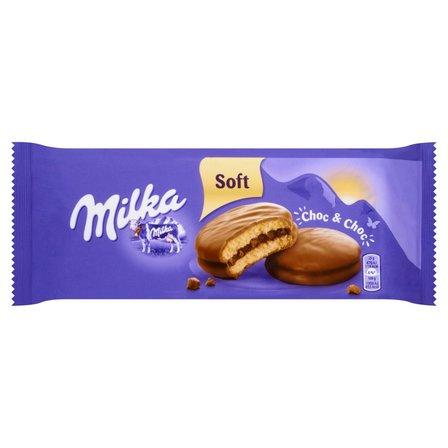 MILKA Choc & Choc Ciastka biszkoptowe przekładane nadzieniem kakaowym oblane czekoladą mleczną (1)