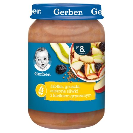 GERBER Jabłka gruszki suszone śliwki z kleikiem gryczanym dla niemowląt po 8. m-cu (1)