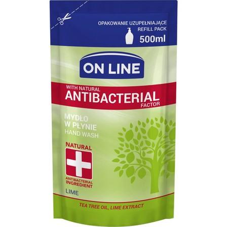 ON LINE Mydło w płynie limonkowe z naturalnym czynnikiem antybakteryjnym (zapas) (1)