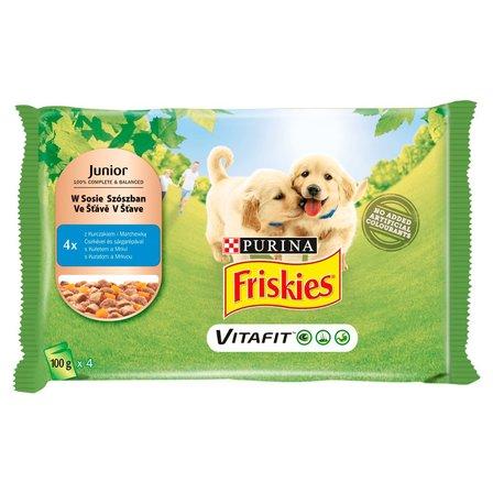 FRISKIES Vitafit Junior z kurczakiem i marchewką w sosie Karma dla szczeniąt (4 saszetki) (1)