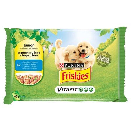FRISKIES Vitafit Junior Karma dla psów z kurczakiem i groszkiem w galaretce (4 x 100 g) (1)