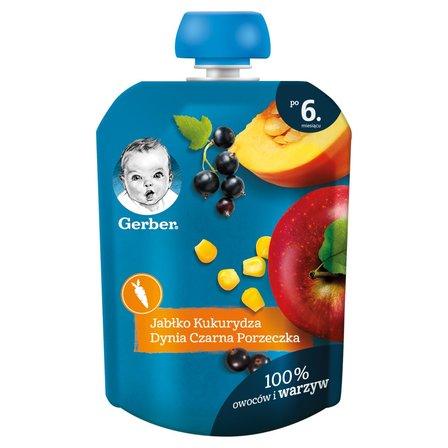 GERBER Deserek jabłko kukurydza dynia czarna porzeczka dla niemowląt po 6. m-cu (1)