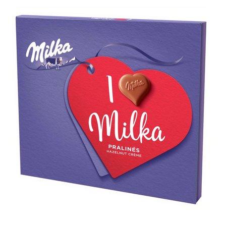 MILKA Czekoladki mleczne z mleka alpejskiego z nadzieniem migdałowym I Love Milka (2)