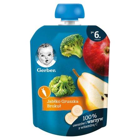GERBER Deserek jabłko gruszka brokuł dla niemowląt po 6. m-cu (1)