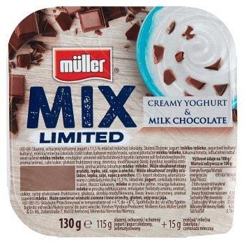 Müller Mix Jogurt słodzony aromatyzowany z czekoladą mleczną 130 g (1)