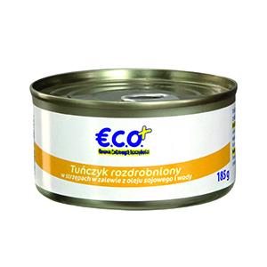 ECO+ Tuńczyk rozdrobniony w strzępach w zalewie z oleju sojowego i wody (1)