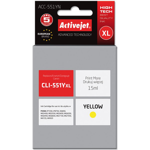 ACTIVEJET ACC-551YN Tusz do drukarki Canon zastępuje tusz Canon CLI-551YXL żółty (1)
