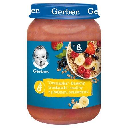 GERBER Owsianka Banany truskawki i maliny z płatkami owsianymi dla niemowląt po 8. m-cu (1)